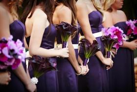 Purple calla lily bouquet and multi flower bridesmaid bouquet