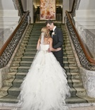 Vera Wang bridal gown and cathedral-length veil