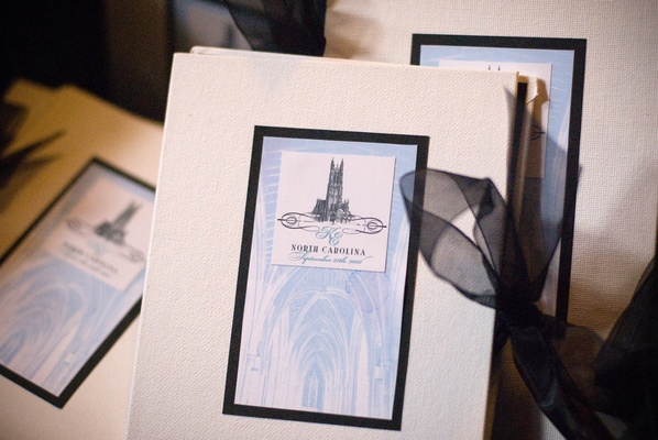 wedding programs with duke chapel logo