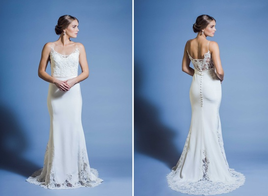 Jinza Couture Bridal 2016 beach wedding dress with spaghetti straps and sheer lace back
