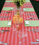 Long table with red stripe tablecloth and green napkins
