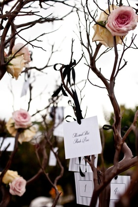 Escort cards hanging from Manzanita tree branches