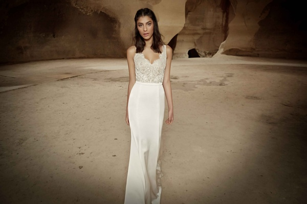 Limor Rosen Ariel wedding dress lace scallop top with satin fitted skirt Tribal Collection