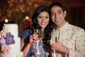 Actress Reshma Shetty toasts with her groom at their wedding reception