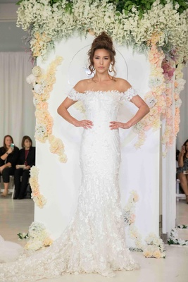Julie Vino 2018 Havana bridal collection wedding dress off shoulder bridal gown appliques on skirt