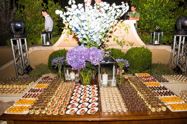 Wedding reception dessert table with a variety of desserts