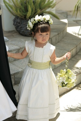 Little girl in chartreuse and ivory floor-length dress