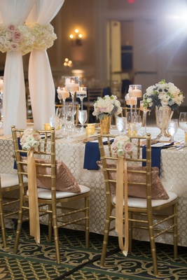 bride groom chairs nosegays ribbon north carolina wedding ballroom reception navy gold white sheer