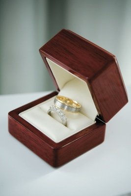 1797ab87b27 Destination Wedding on the Greek Island of Santorini. Cherry wood and ivory  wedding band storage ...