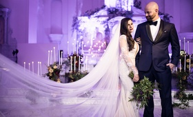 Seattle Mariners Marc Rzepczynski's wedding, Lindzey Lawler, bride in galia lahav, cathedral veil