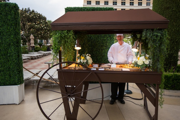 outdoor italian food station at wedding cocktail hour