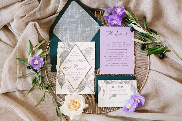 wedding invitation suite, forest green envelopes, lavender insert, silver flowers