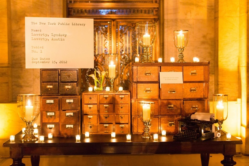 Wooden drawer card catalog filled with seating cards