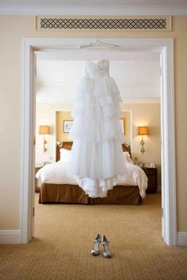 Empire-waist wedding dress and tiered skirt