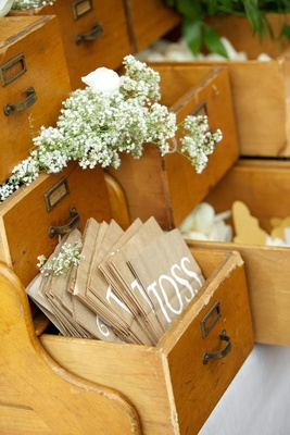 Antique library drawers filled with flower petals