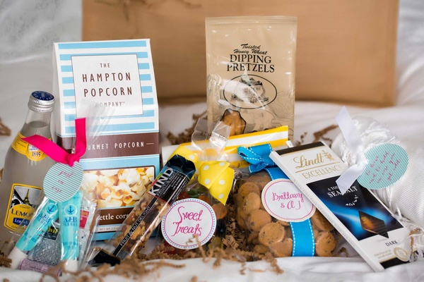 gift gourmet popcorn, lemonade, kind bars, Lindt chocolates, dipping pretzels, cookies, gummy bears
