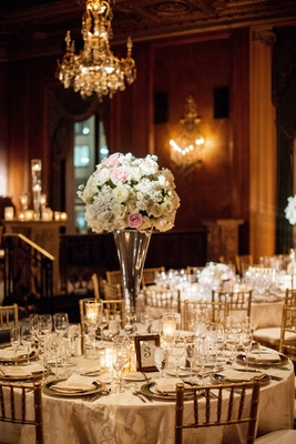 blush and every centerpiece on large vase, chiavari chairs