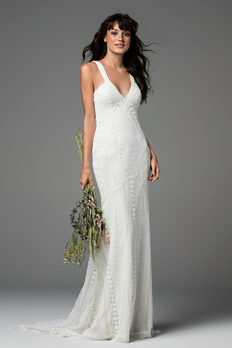Bridal week geometric wedding dresses from willowby by watters willowby by watters fall 2017 bliss low cut sheath with sevighy striped lace soft ombrellifo Images