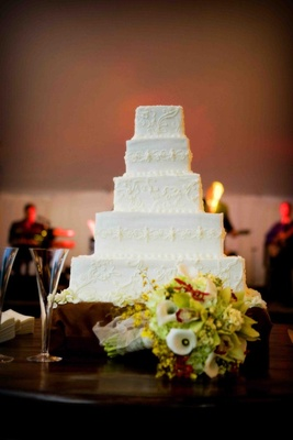 White wedding cake with lace patterns