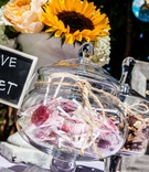 DIY sweets dessert table at wedding reception