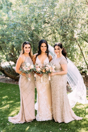 Bride in Calla Blanche wedding dress bridesmaids in adrianna papell bridesmaid dresses sequin beads