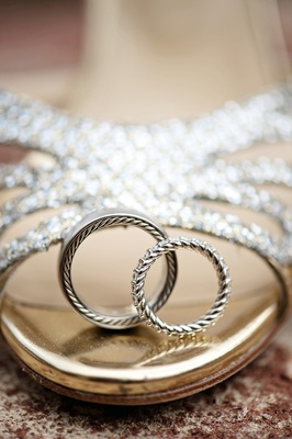 Silver platinum wedding band with braid details