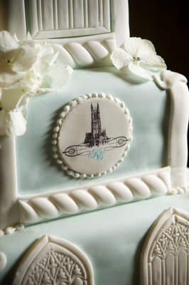close up of duke chapel logo on cake