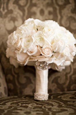 white and blush bouquet with crystals wrapped with satin ribbon