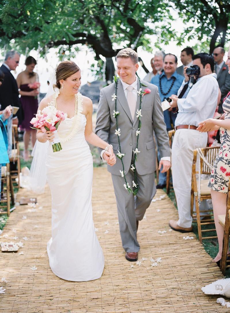 Tropical wedding ceremony and Hawaiian attire