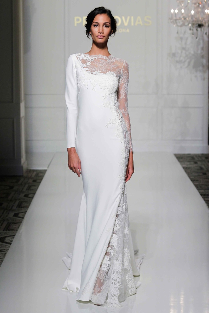 Wedding dresses photos veda by pronovias 2016 inside for Modern long sleeve wedding dresses