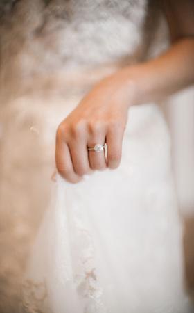 wedding engagement ring thin band halo setting round diamond lace wedding dress