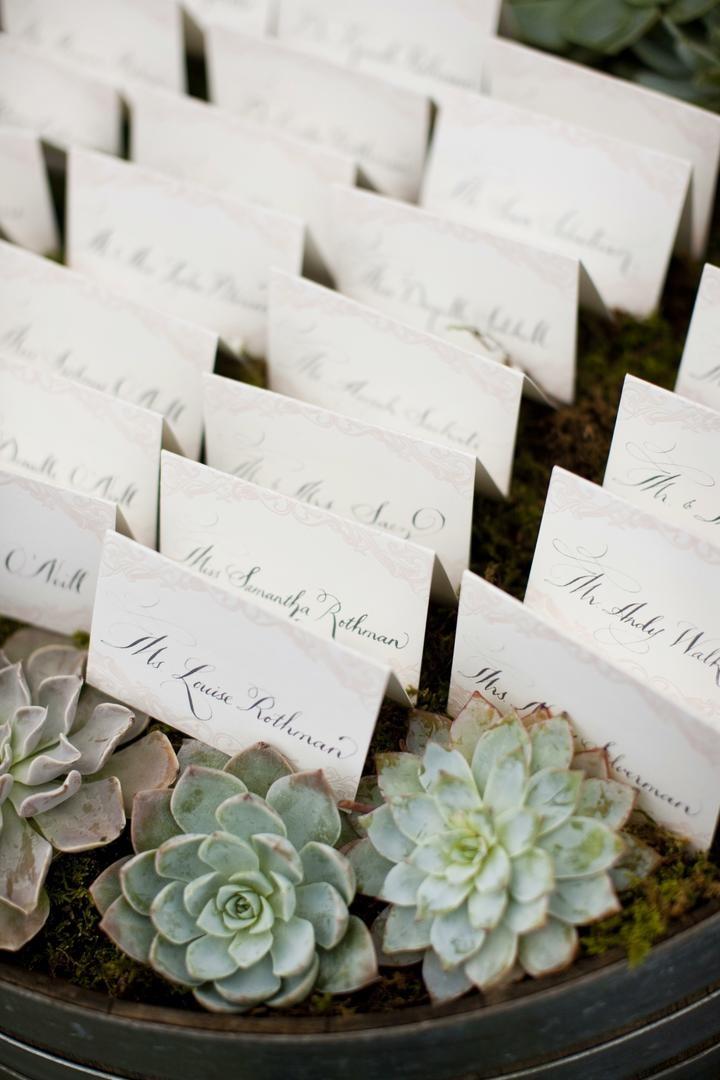 White escort cards on wine barrel in moss