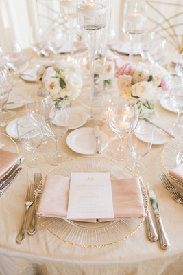 wedding reception champagne linens gold rim charger plate blush napkin white gold menu card monogram