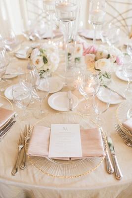 wedding reception champagne linens gold rim charger plate blush napkin white gold menu card monogram