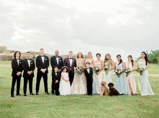 mariana paola vicente and kike hernandez wedding party groomsmen mismatched bridesmaids puerto rico