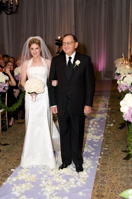 Father-of-the-bride on lavender aisle runner