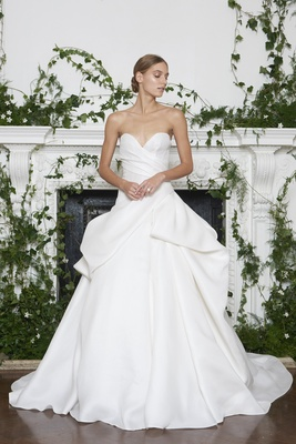 Monique Lhuillier Fall 2018 Ball gown with ruching on bodice and modern folds on top of skirt