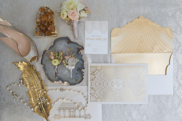 Ceci New York golden wedding invitation suite, Louboutin heel, vintage Chanel pearl necklace