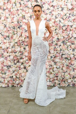 Michael Costello spring summer 2018 bridal couture collection plunging neckline sheer skirt