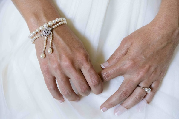 Three-stone engagement ring and drop bracelet