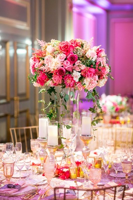 Texture table linen, glass centerpiece vase, greenery, pink rose, pink dahlia, pink astilbe flowers