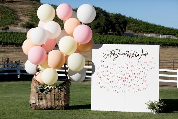 balloons at wedding, hot air balloon with balloons at wedding with seating chart