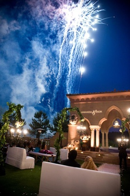 Wedding reception fireworks at The Grand Del Mar