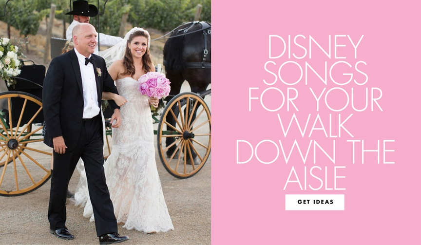 bride being escorted from horse-drawn carriage by her father, disney songs for walking down the aisl