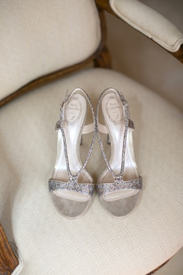 Silver strap Rene Caovilla wedding shoes