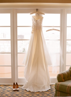Pronovias strapless gown with ruching and bustle train