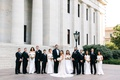 detroit lions tackle taylor decker wedding to bryn toyama, bridesmaids in white off-the-shoulder