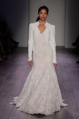 Jim Hjelm Spring 2016 Lace Wedding Dress In Light Blush With White Blazer Jacket