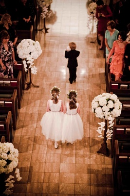 Bird's-eye view of wedding children processional