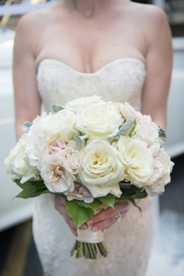 wedding bouquets strapless wedding dress bridal bouquet white pink rose tied bouquet
